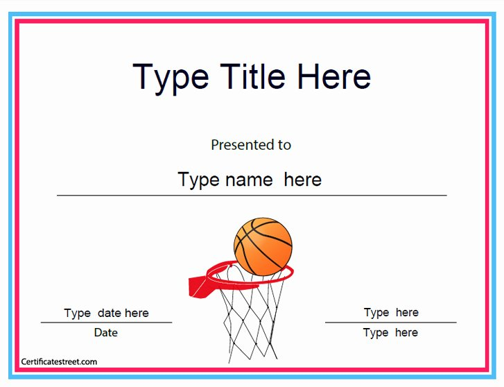 Free Basketball Certificates to Print Inspirational Sports Certificates Baskeball Achievement Certificate