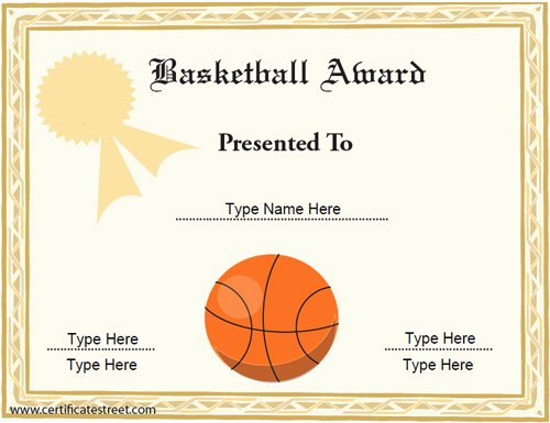 Free Basketball Certificates to Print Lovely Sports Certificates Basketball Award Certificate