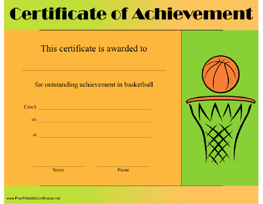 Free Basketball Certificates to Print New A Certificate Of Achievement In Basketball with A Ball In