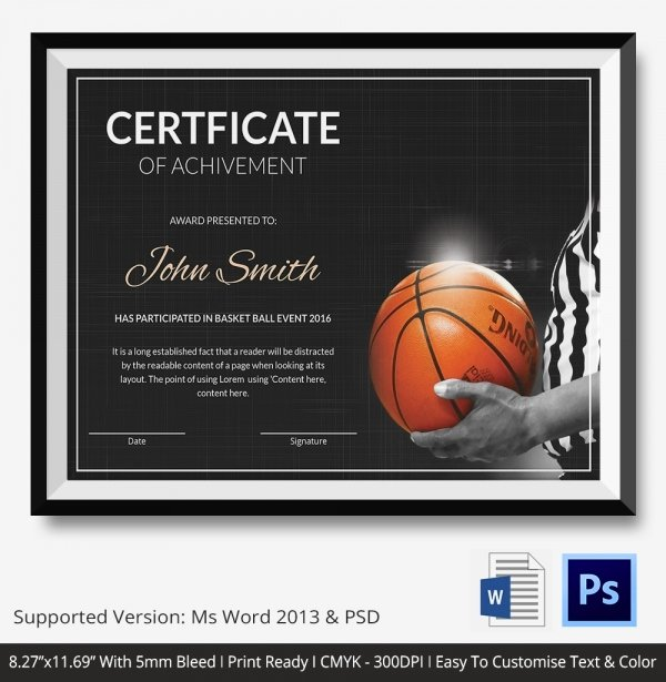 Free Basketball Certificates to Print New Basketball Certificate Template 14 Free Word Pdf Psd