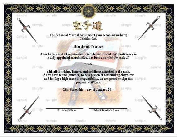 Free Black Belt Certificate Template Fresh Uniform Gi Martial Arts Karate Rank Belt Certificate Template