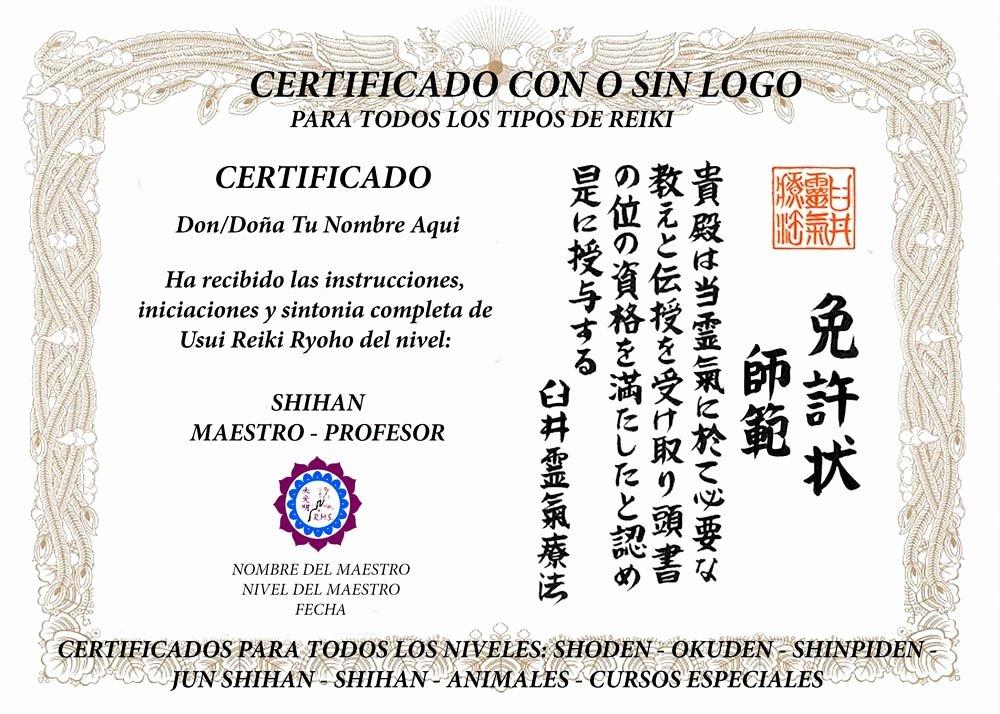 Free Black Belt Certificate Template New Certificados Profesionales De Reiki