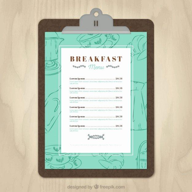 Free Blank Menu Templates Fresh Breakfast Menu Template Vector