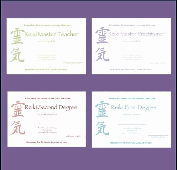 Free Blank Reiki Certificates Awesome Plete Set Reiki Certificate Templates X4 by