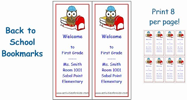 Free Bookmarks for Schools Beautiful Back to School Bookmarks Printable for Kids