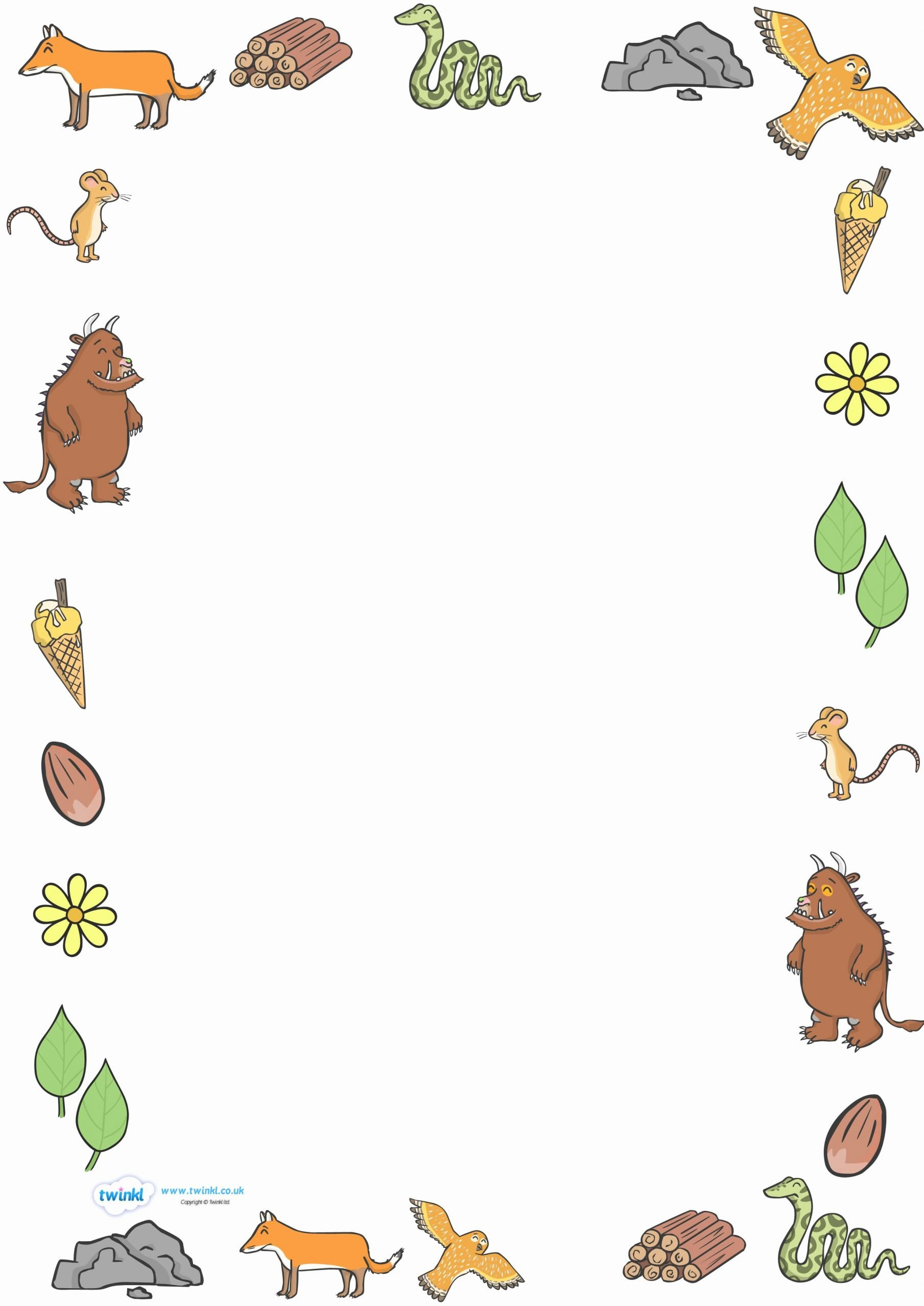 Free Border Templates for Teachers Fresh Twinkl Resources the Gruffalo Full Page Borders