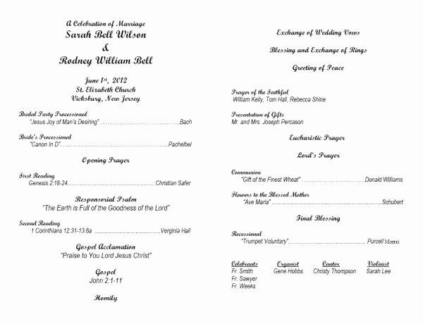 Free Catholic Wedding Ceremony Program Template Beautiful 30 Of Catholic Wedding Program Template Microsoft