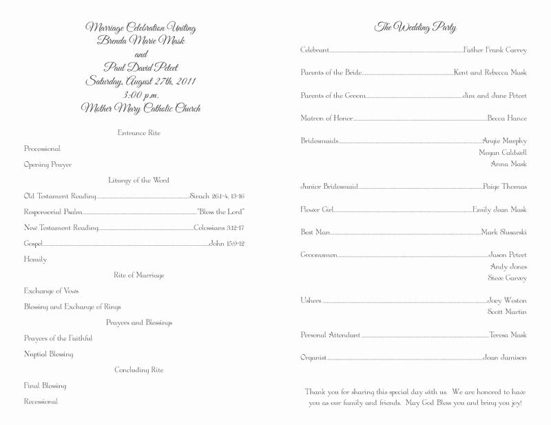 Free Catholic Wedding Ceremony Program Template Fresh Free Wedding Program Templates – No Cover – Wedding