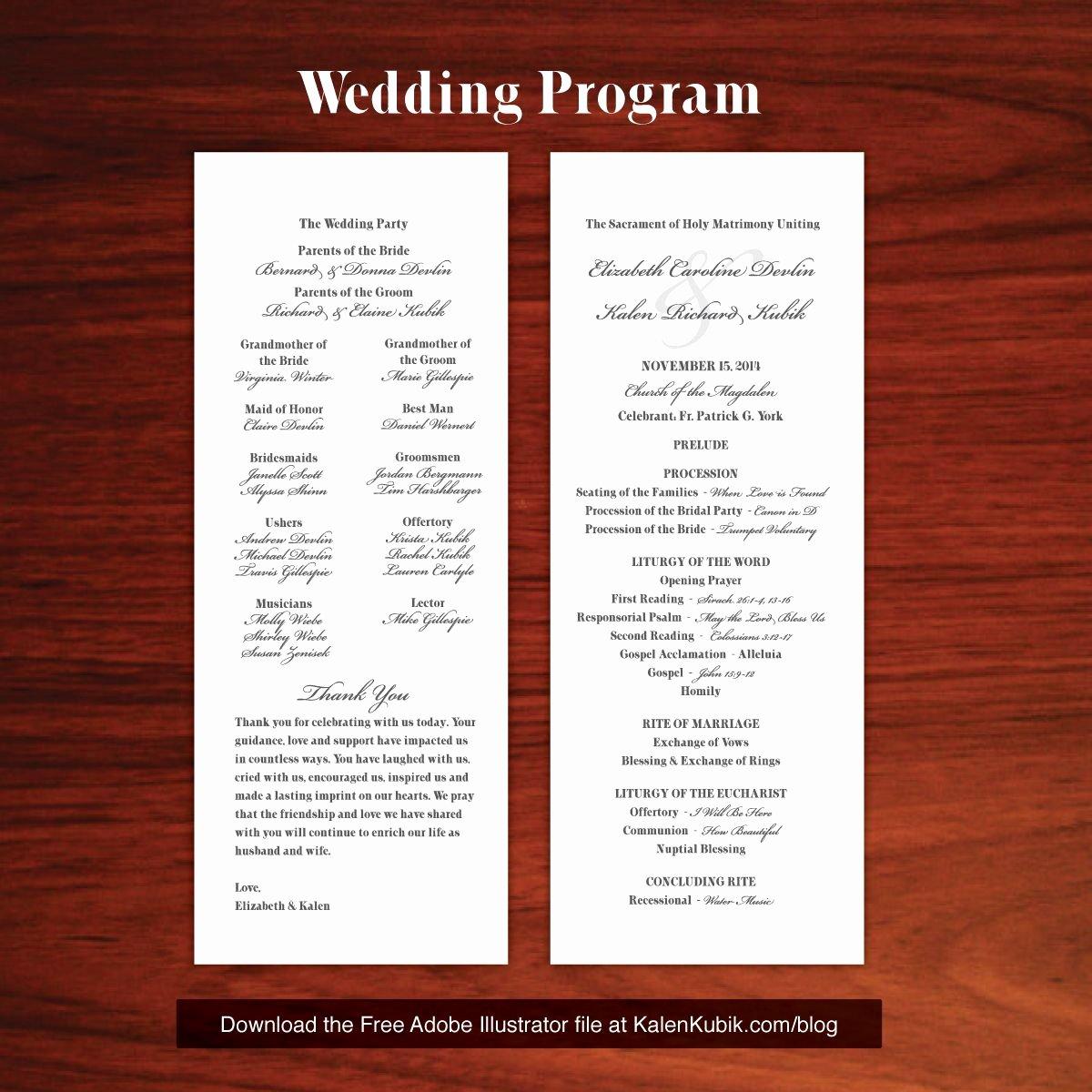 Free Catholic Wedding Ceremony Program Template Inspirational Free Diy Catholic Wedding Program Ai Template I M A