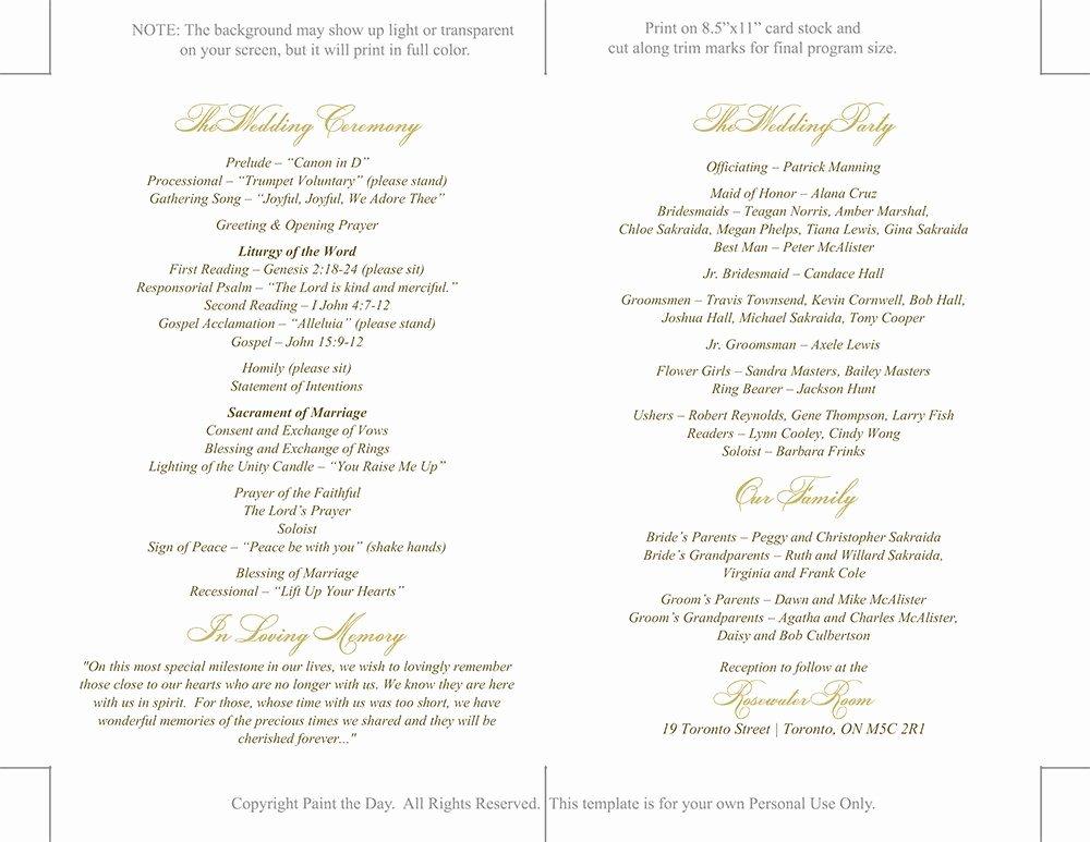 Free Catholic Wedding Ceremony Program Template Lovely Catholic Wedding Program Template Printable Fold Over