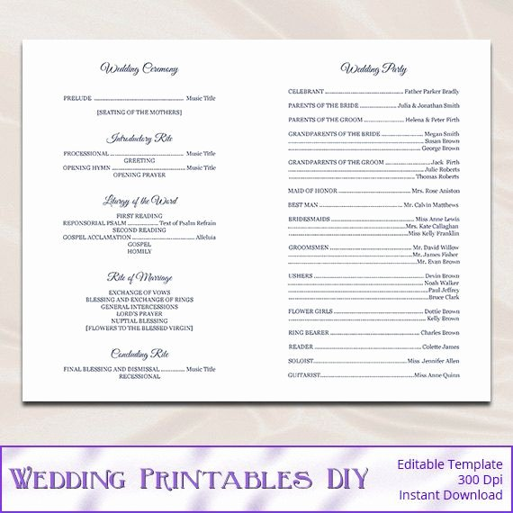 Free Catholic Wedding Ceremony Program Template New Catholic Wedding Program Template Diy Navy by