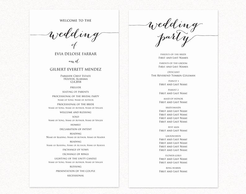 Free Catholic Wedding Ceremony Program Template Unique Wedding Program Two Templates Ceremony Program Template