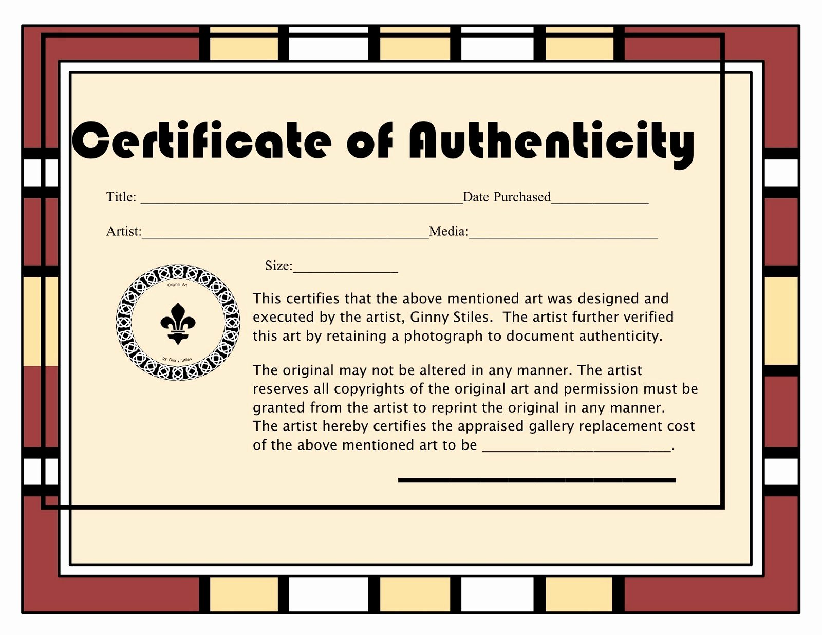 Free Certificate Of Authenticity for Artwork Template Awesome An Artist Labyrinth Ginny Stiles Czt Certificate Of
