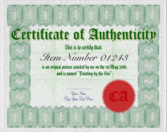 Free Certificate Of Authenticity for Artwork Template Best Of Sample Certificate Of Authenticity Template 9 Free