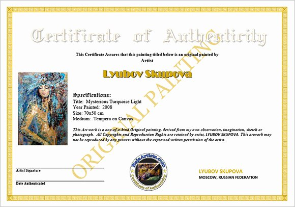 Free Certificate Of Authenticity for Artwork Template Elegant Certificate Authenticity Templates Word Excel Pdf formats