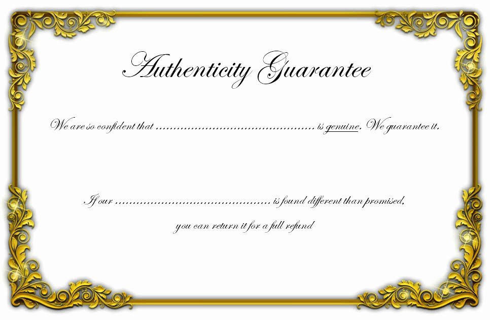 Free Certificate Of Authenticity for Artwork Template Elegant Certificate Of Authenticity Templates Free [10 Limited
