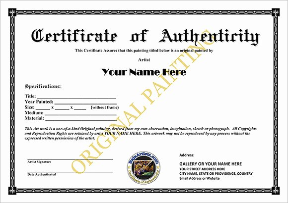 Free Certificate Of Authenticity for Artwork Template Inspirational 8 Certificate Of Authenticity Templates – Free Samples