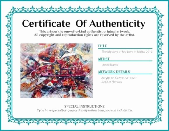 Free Certificate Of Authenticity for Artwork Template Lovely 12 Certificate Authenticity Templates Word Excel Samples