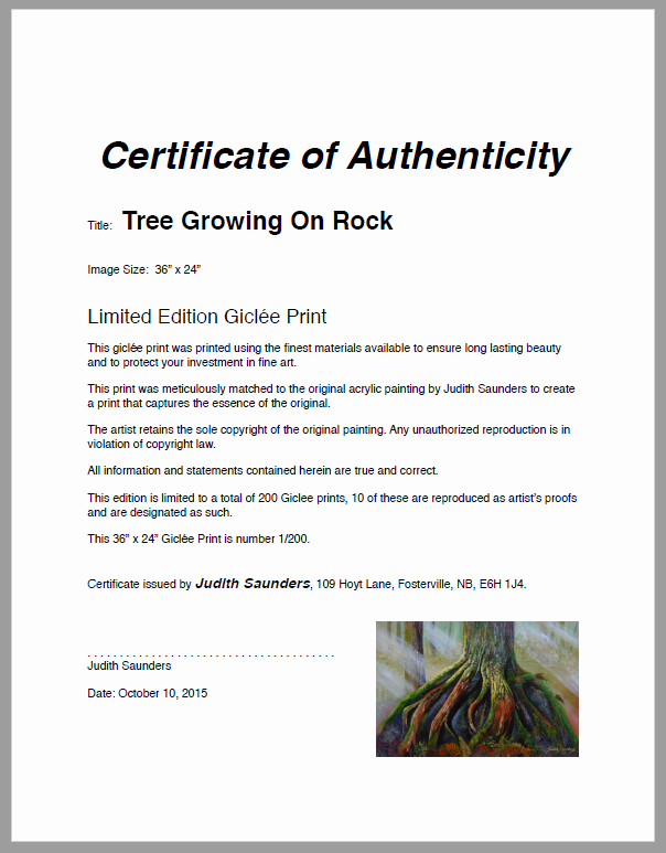 Free Certificate Of Authenticity for Artwork Template New Letter Of Authenticity Judith Saunders