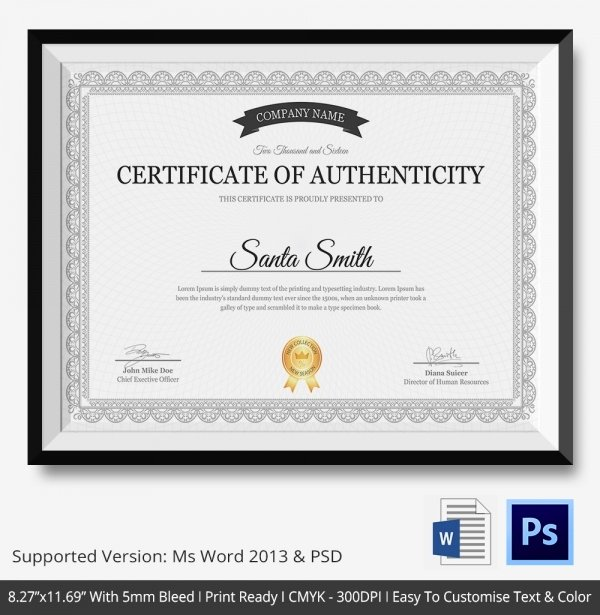 Free Certificate Of Authenticity Template Fresh Certificate Of Authenticity Template 27 Free Word Pdf