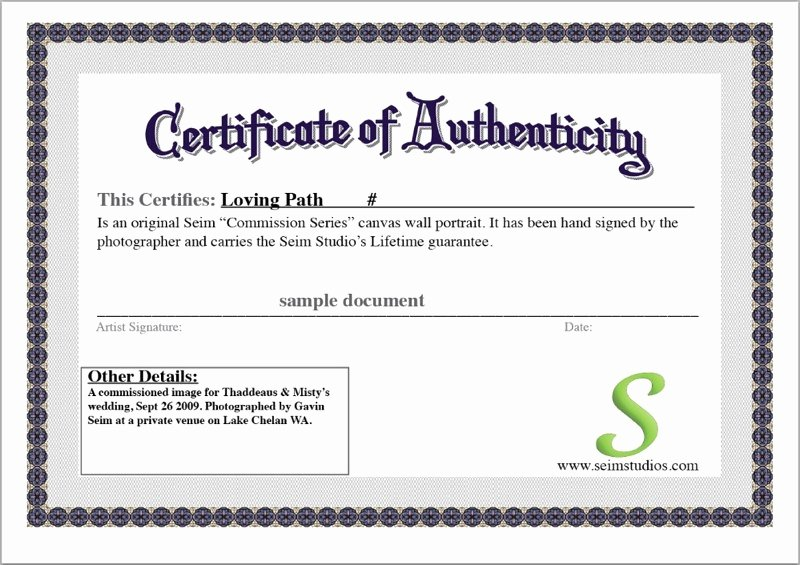 Free Certificate Of Authenticity Template Lovely Certificate Authenticity Template