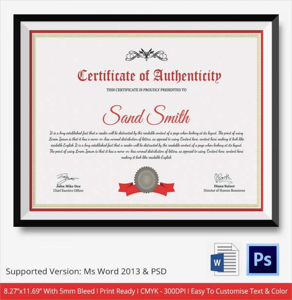 Free Certificate Of Authenticity Template Microsoft Word Elegant 45 Sample Certificate Of Authenticity Templates In Pdf