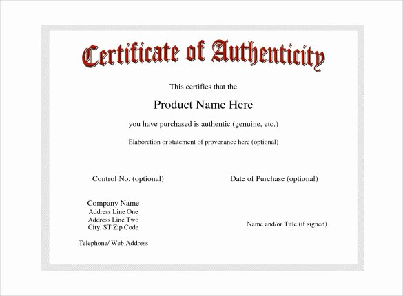 Free Certificate Of Authenticity Template Microsoft Word Inspirational Certificate Of Authenticity Template Certificate