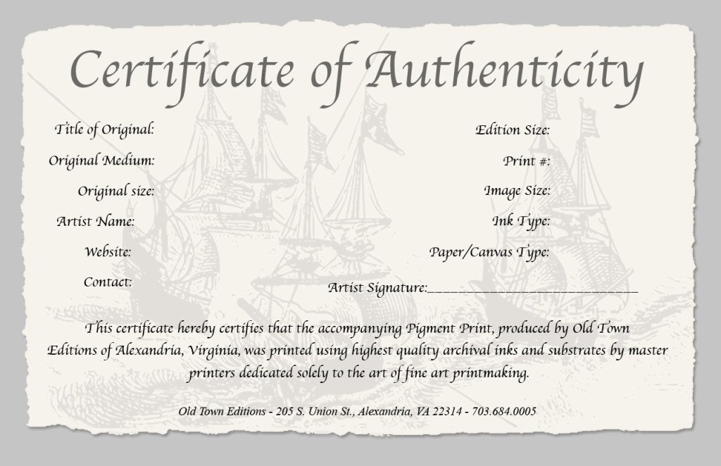 Free Certificate Of Authenticity Template Microsoft Word New Certificate Authenticity Template