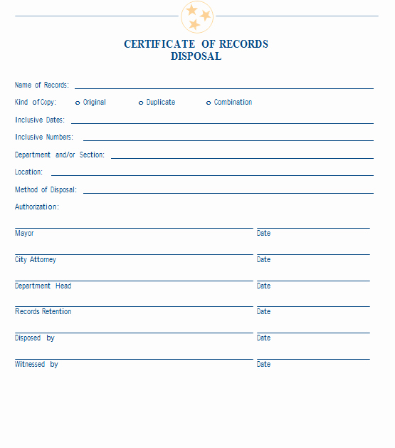 Free Certificate Of Destruction Template Beautiful 21 Of Records Destruction Log Template