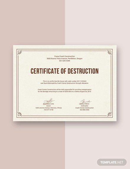 Free Certificate Of Destruction Template Beautiful 99 Free Printable Certificate Template Examples In Pdf