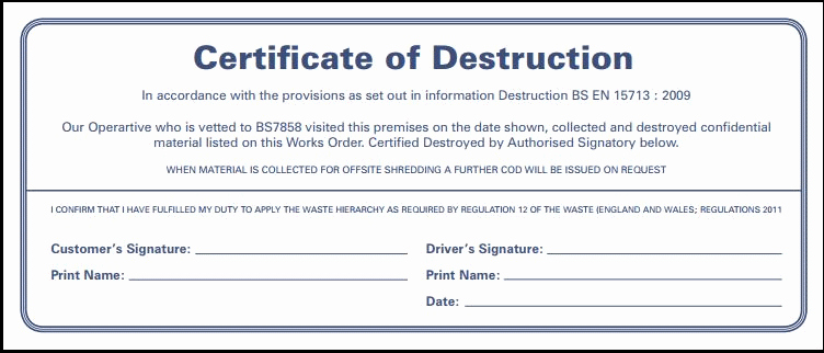 Free Certificate Of Destruction Template Elegant Secure Site Shredding Service Bristol Sw England