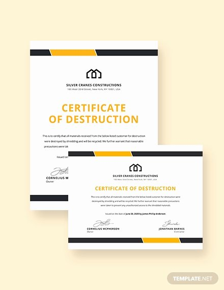 Free Certificate Of Destruction Template Unique Free Certificate Of Destruction Template Download 435