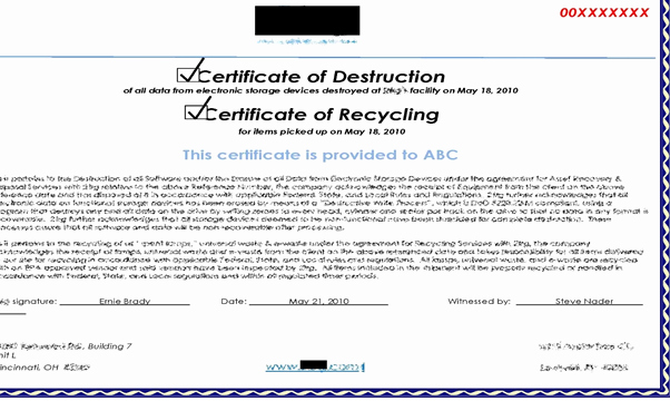 Free Certificate Of Destruction Template Unique Ptia A Exam 220 902 Sub Objective 3 6 Data Destruction
