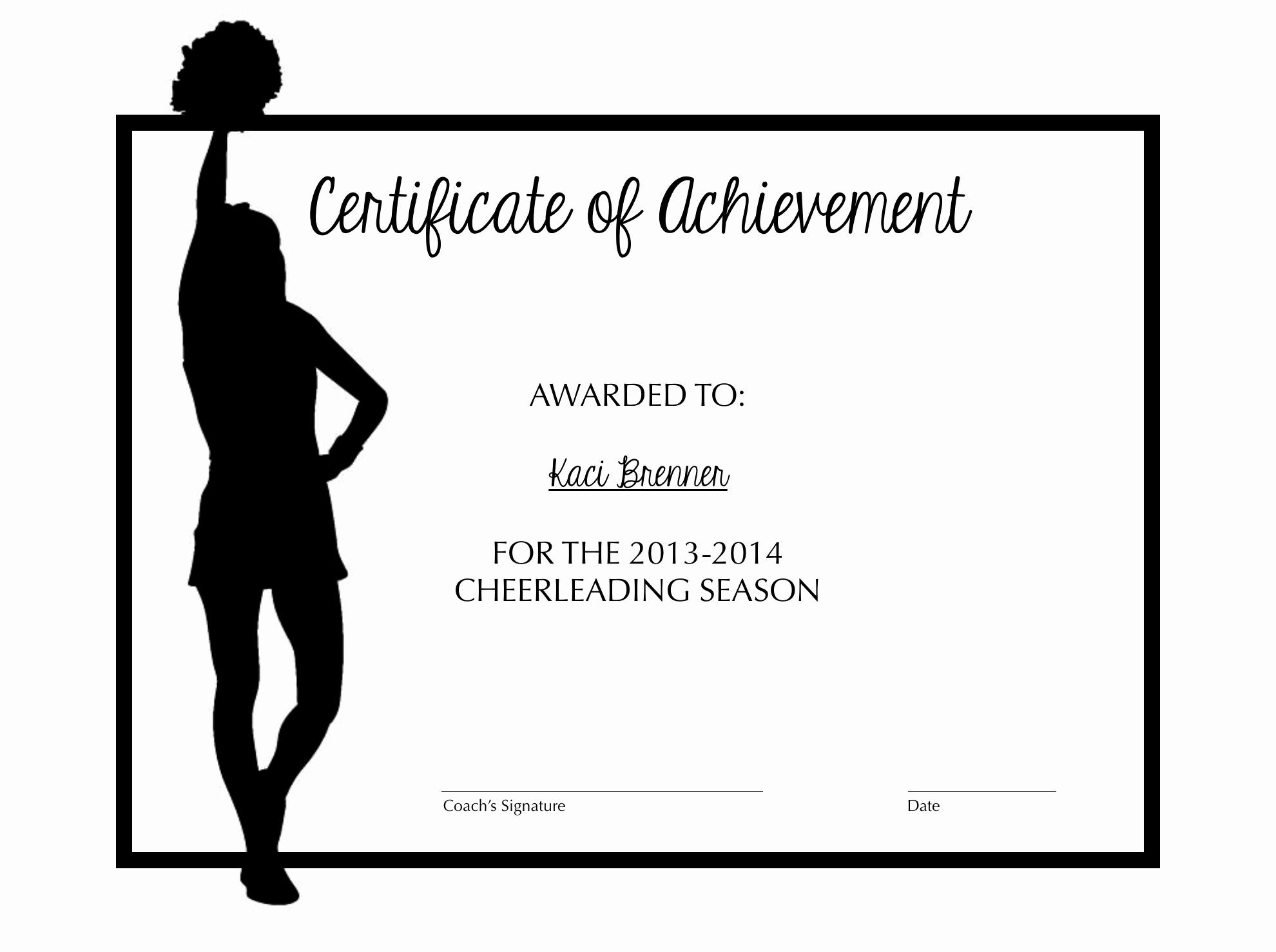 Free Cheer Award Certificate Templates Beautiful Cheerleading Certificate Of Achievement Cheer