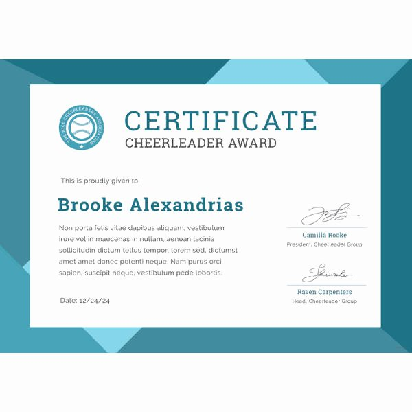Free Cheer Award Certificate Templates Best Of Award Certificate Template 39 Word Pdf Psd format