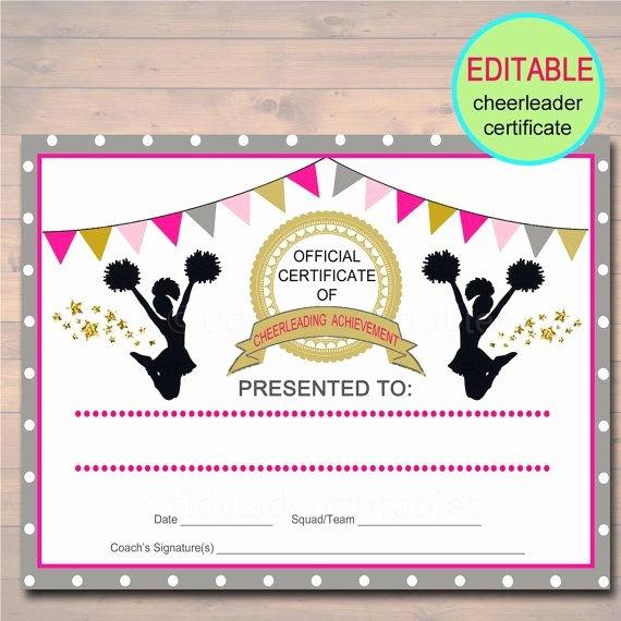 Free Cheer Award Certificate Templates Elegant Editable Cheerleader Certificate Instant Download