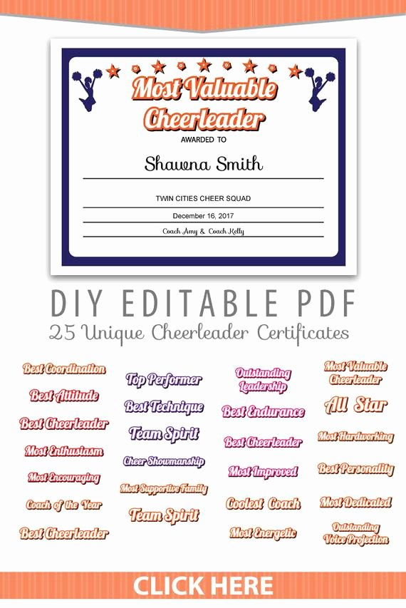 Free Cheer Award Certificate Templates Inspirational 25 Unique Cheerleader Certificates Editable Pdf Sports