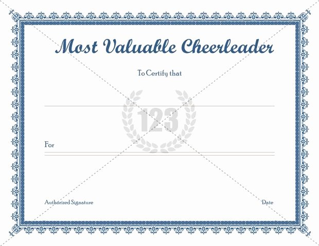 Free Cheer Award Certificate Templates Lovely Most Valuable Cheerleader Templates Free Download
