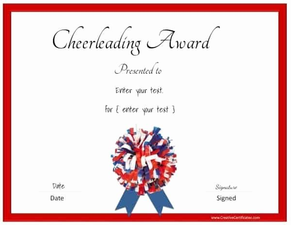 Free Cheer Award Certificate Templates Luxury Free Editable Cheerleading Certificates Customizable
