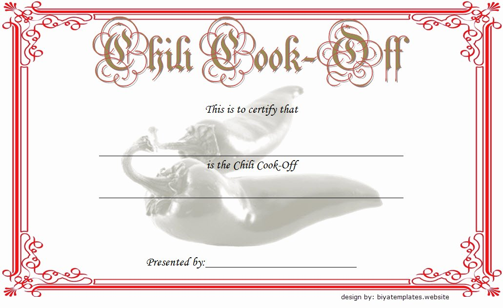 Free Chili Cook Off Award Certificate Template Awesome Chili Cook F Certificate Template 10 Best Ideas