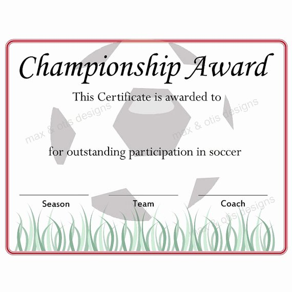 Free Customizable soccer Certificates Best Of soccer Championship Award Certificate by Maxandotis On