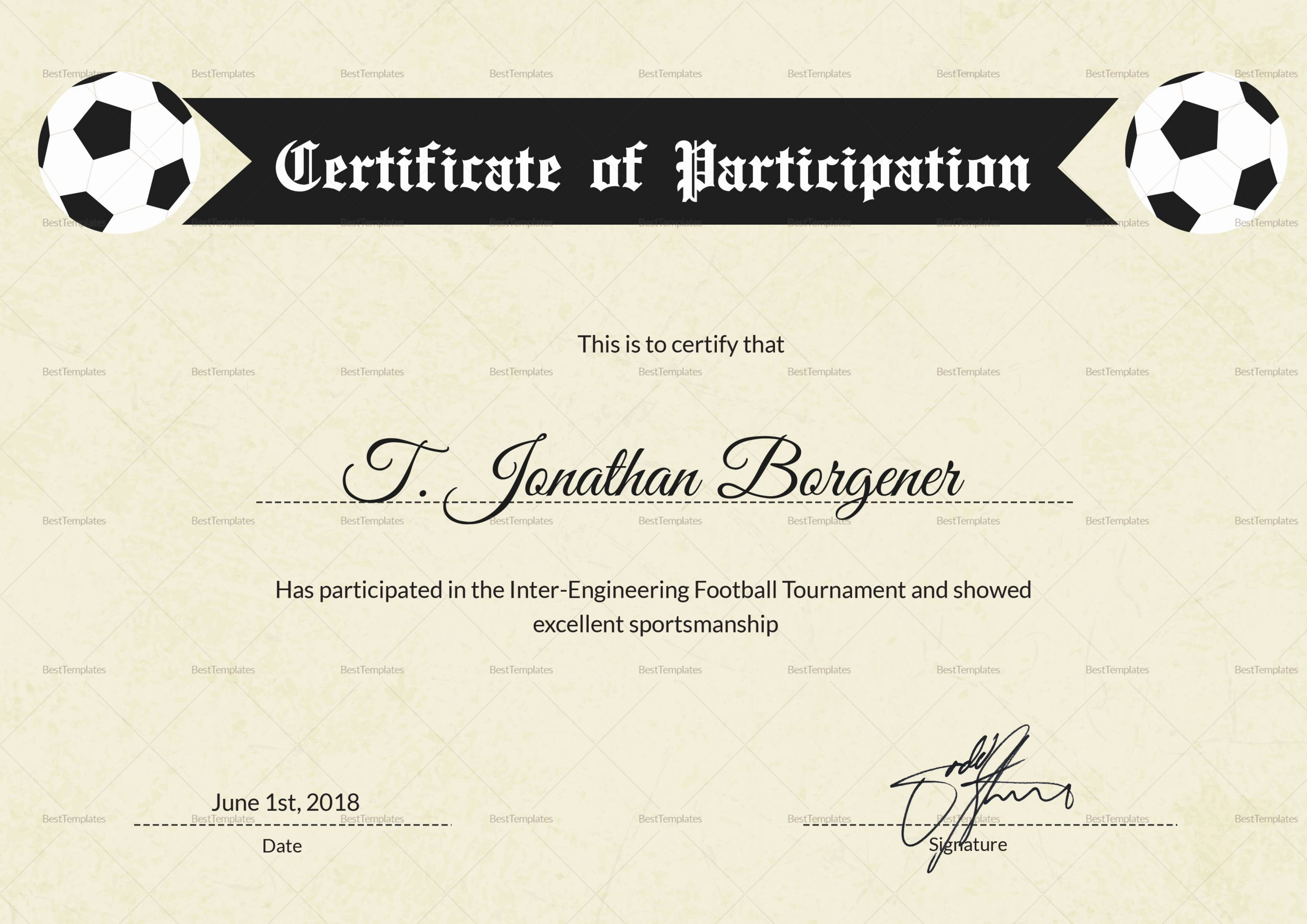 Free Customizable soccer Certificates Inspirational Sports Day Football Certificate Design Template In Psd Word