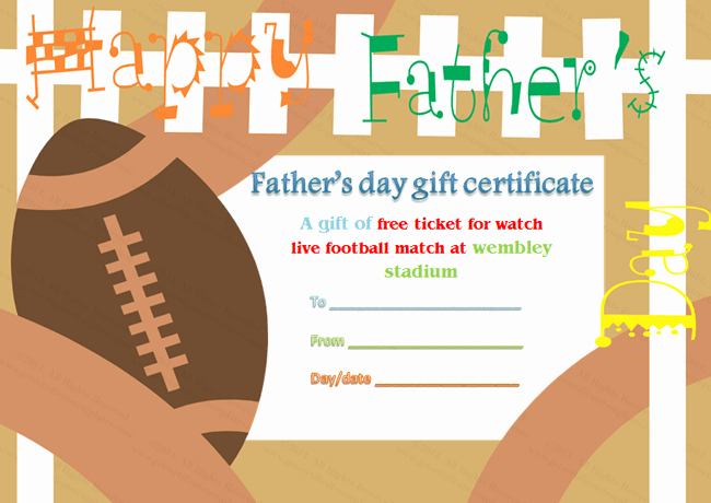 Free Customizable soccer Certificates New Father S Day Gift Certificate Template Football theme