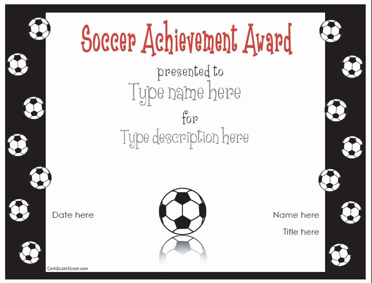 Free Customizable soccer Certificates New Free Printable Award Certificate Template