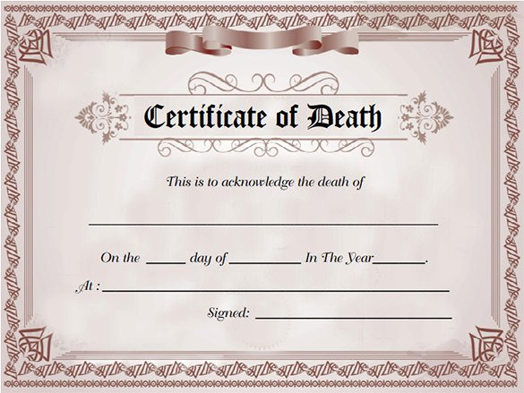 Free Death Certificate Template Awesome 7 Death Certificate Templates Psd Ai Illustrator Word
