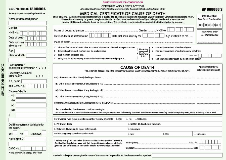Free Death Certificate Template Best Of 37 Blank Death Certificate Templates [ Free]