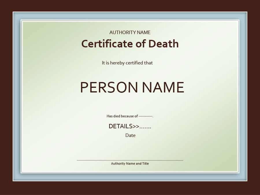 Free Death Certificate Template Lovely 37 Blank Death Certificate Templates [ Free]