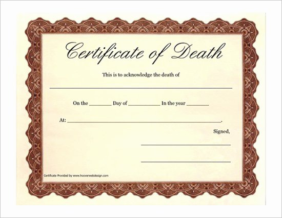 Free Death Certificate Template Lovely 7 Free Death Certificate Templates formats & Designs