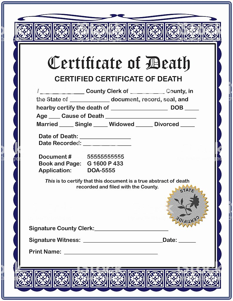 Free Death Certificate Template Lovely Blank Certificate Death Fill In Your Information Stock