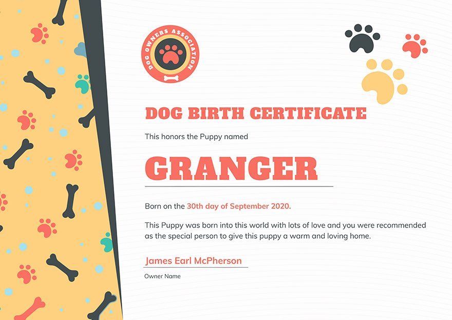 Free Dog Birth Certificate Template Microsoft Word Inspirational Dog Birth Certificate 1 Editable Word Doc Printable